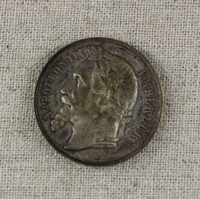 Médaille commémorative en métal argenté :...