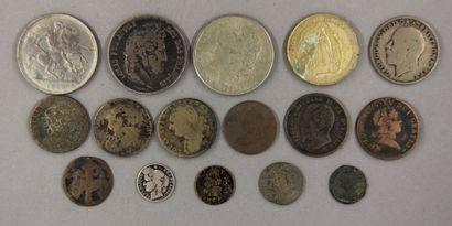 Lot de pièces divers dont une pièce de 5...