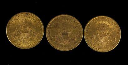 *Trois pièces de 20 dollars en or 1876, 1907(2)