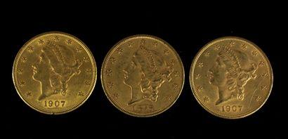 *Trois pièces de 20 dollars en or 1876, ...