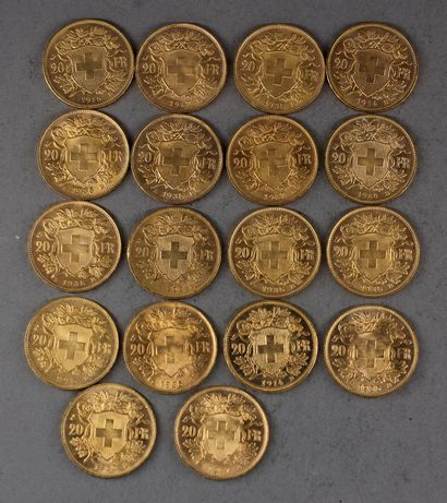 *Dix huit pièces de 20 Francs Suisse en or