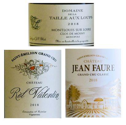 """3 bouteilles ,VINS DIVERS ,(La Taille aux Loups""""2010, Rol Valentin 2018, Jean-Faure..."""