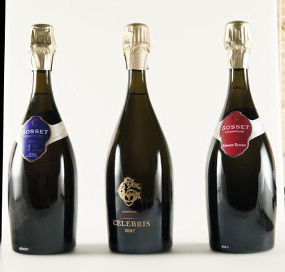 3 bouteilles CHAMPAGNE , Gosset ,(1 Grande...