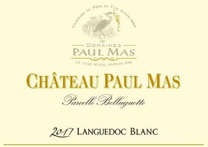 """6 magnums  """"Parcelle Belluguette"""", Château Paul Mas,2017,(blanc)"""