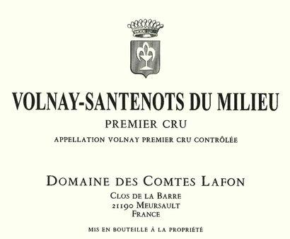 """3 magnums VOLNAY """"Santenots du milieu 1er cru"""", Domaine des Comtes Lafon 20..."""