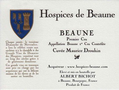 "1 magnum BEAUNE ""Cuvée Maurice Drouhin 1er cru"", Joseph Drouhin 2013 (Hospices..."