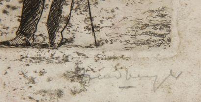 FRIEDBERGER  - La baignade  Eau-forte signée en bas à droite, numérotée 2/30  18...