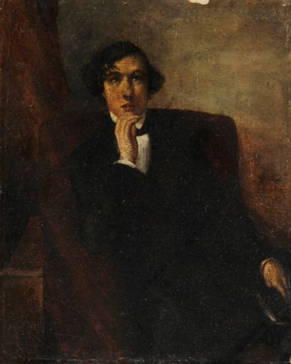 Ecole du XIXème s.  Jeune homme pensif, Delacroix...