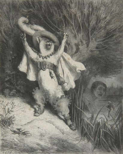 François PIERDON (1821-1904) Gustave DORE (1832-1883)  Le chat botte - Pantagruel...