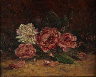 R. CHARLES  Nature-morte aux fleurs  Huile...