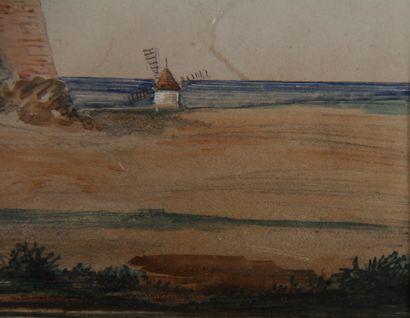 Ecole moderne  Personnages et cavalier près d'une citadelle en Afrique du Nord  Aquarelle...