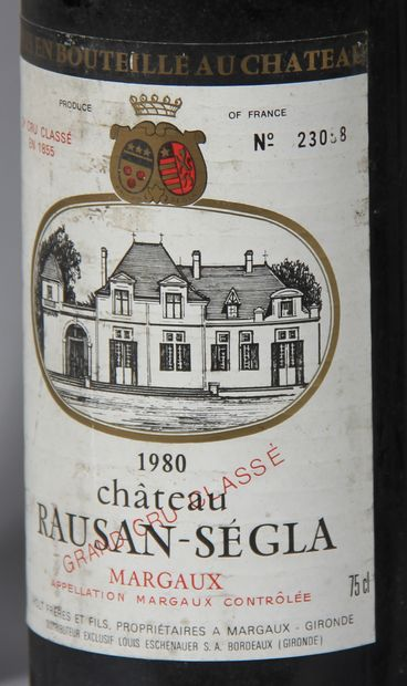 5 b. château RAUSAN SEGLA 1980 (stained labels)