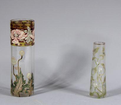 Lot :  - Vase tubulaire en verre transparent...