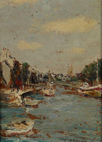 Jacques DENIER (1894-1983)  L'entrée du port...