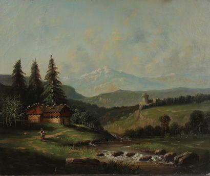 Ecole du XIXème s.  Paysanne dans les environs...
