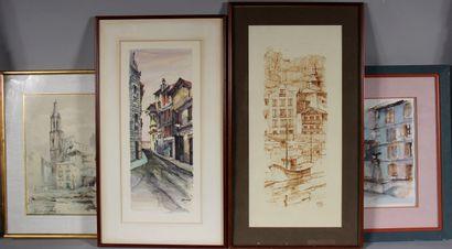 Ecole moderne  Village  Quatre fusains, aquarelles...