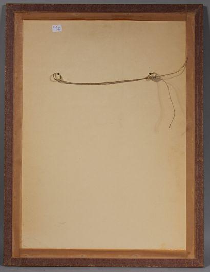 Ecole moderne  Femme assise  Fusain et crayon blanc signée en bas à droite  43 x...