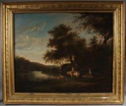 C. RENARD  Couple de berger et leur troupeau au bord d'une rivière  Huile sur toile...