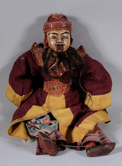 Marionnette balinaise en bois polychrome...