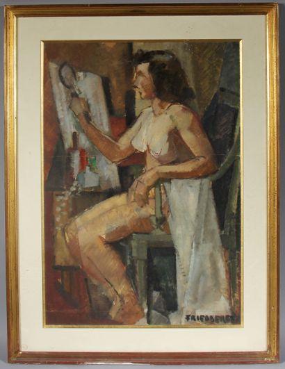 FRIEDBERGER  Femme à sa toilette  Gouache sur papier signée en bas à droite  74...
