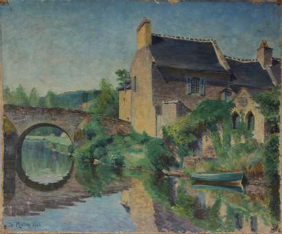 Ch PLISSON  Maison et pont de pierre  Huile...