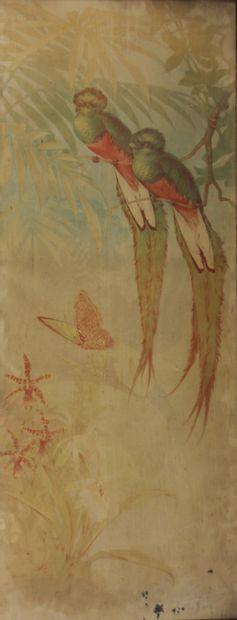 Gaston NOURY (1865-1936)  Oiseaux parmi des...