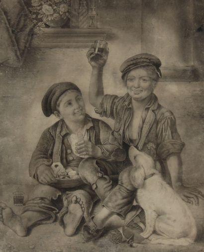 Esther GEVERNAULT  Deux enfants et un chien se restaurant  Mine de plomb signée...