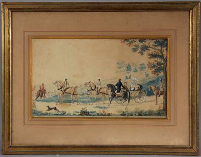 Drew E. Eugène ??  La chasse à cour en calèche  Aquarelle signée en bas à droite,...
