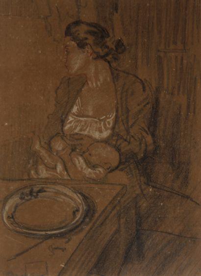 Wenceslas DEDINA (1872-?)  Femme et son bébé...