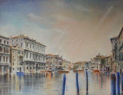 Ecole contemporaine  Venise  Crayon gras...