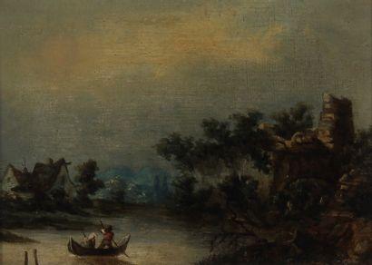 Ecole du XIXème s.  Barque avec un couple...