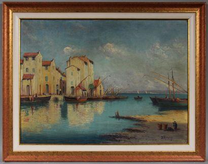 Dominique MANAGO (1902-?)  Port de pêche dans le sud  Huile sur toile signée en...