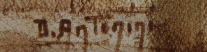 Dante ANTONINI (1914-1985)  Couple attablé devant un portail  Crayon gras signé...