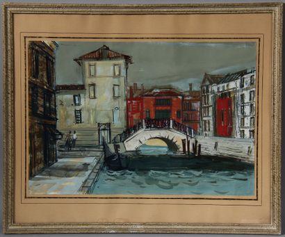 Ecole moderne  Venise  Gouache signée en bas à droite  32,5 x 48,5 cm.