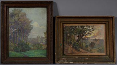 Ecole moderne  Paysage  Deux aquarelles  19 x 27 - 33 x 26 cm. (piqures)