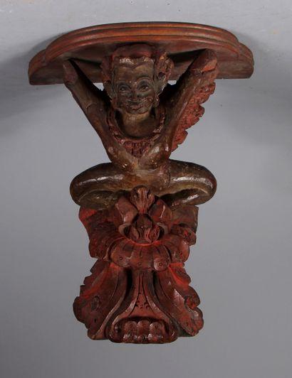 Console d'applique en bois polychrome sculpté...