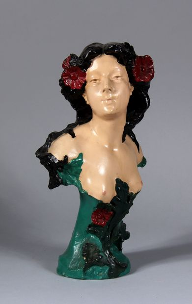 Ecole moderne  Buste de femme  Sculpture...