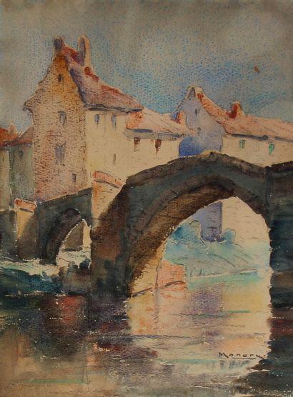 Ecole moderne  Le pont  Aquarelle signée...