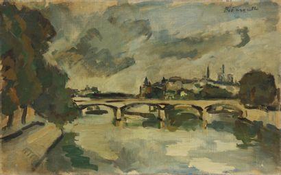 BOËNNE  La Seine à Paris  Huile sur toile...