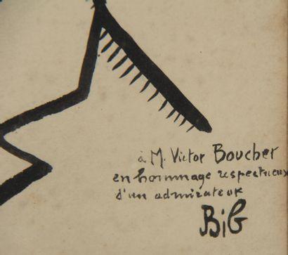 Georges BREITEL dit BIB (1888-1966)  Portrait de profil de Victor Boucher  Encre...