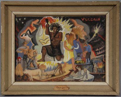 Charles.BOULET-PFEIFFER (1921-1970)  Esquisse pour une fresque  Aquarelle gouachée...