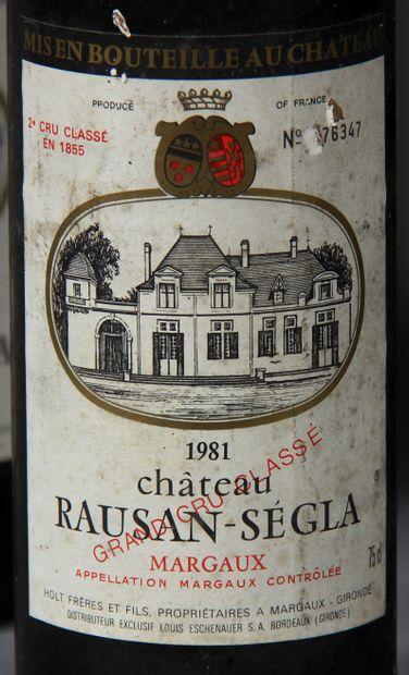 5 b. château RAUSAN SEGLA 1981 (une b. sans étiquette)