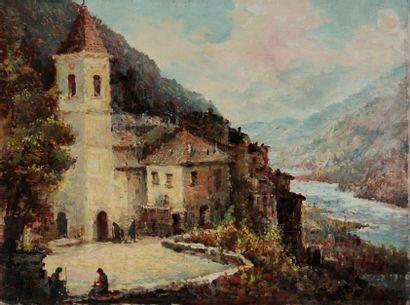C. CASSAR (XXème s.)  Village surplombant...
