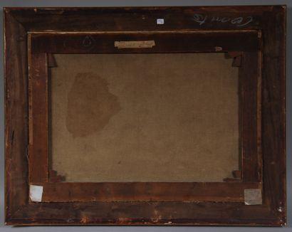 Ecole du XIXe  L'incendie du village  Huile sur toile  55 x 76 cm.
