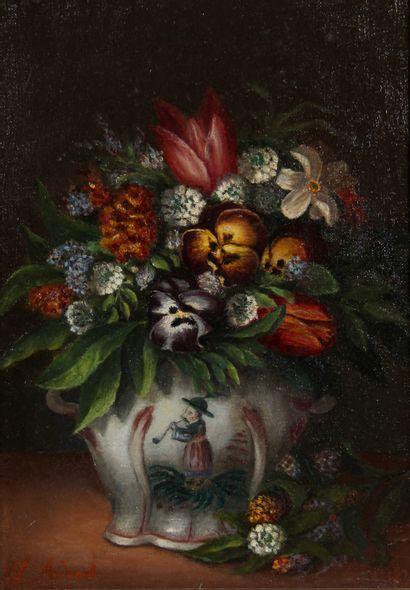 L. ADENAT  Bouquet de fleurs dans un vase...