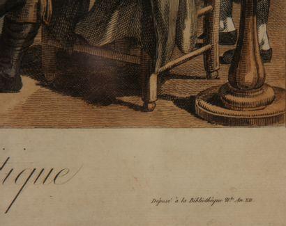 FORTIER sc.  Le café politique  Gravure polychrome  44 x 56 cm. À vue