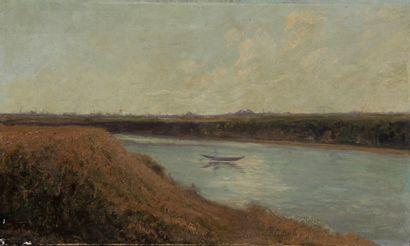 Ecole moderne  Barque sur la rivière  Huile...