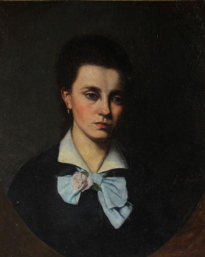 G.V. MARTIN  Portrait de femme  Huile sur...