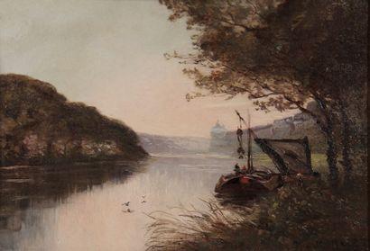 Paul Louis MORIZET (1850-?)  Le bâteau accostant...