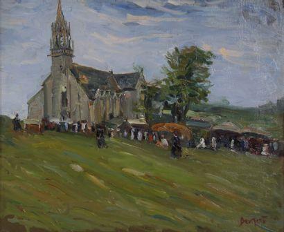 Ecole moderne  La sortie de l'Eglise  Huile...